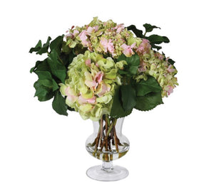 Real Feel Green and Pink Hydrangea in Glass