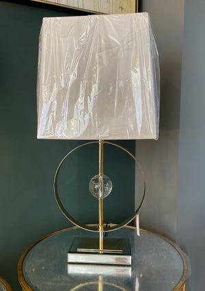 Crystal Gold Circle Lamp with Shade