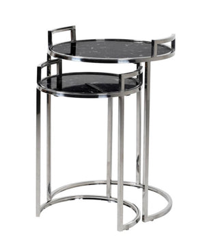 Set of 2 Black Marble Tables