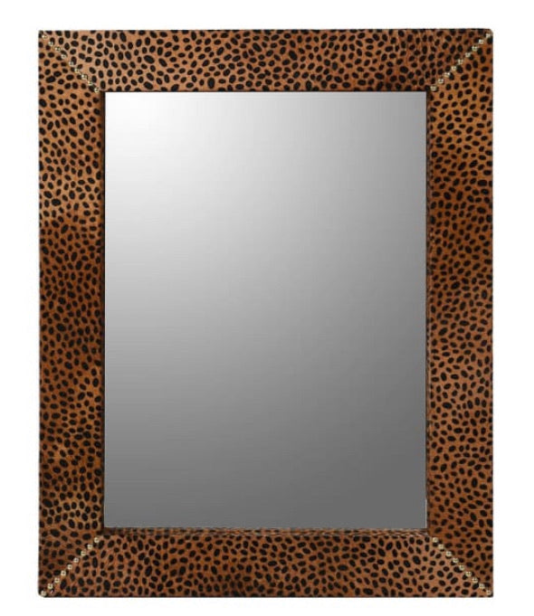 Leopard Print Leather Wall Mirror