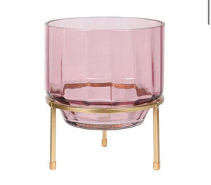 Pink Glass Hurricane on Gold Stand
