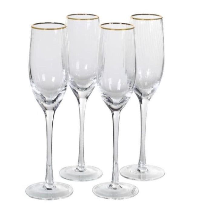 Ribbed Champagne Glasses with Gold Rim