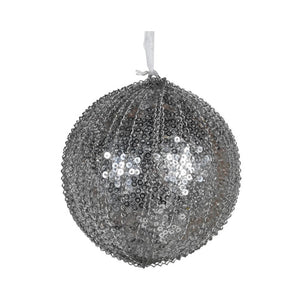 Silver Sequin Beaded Bauble
