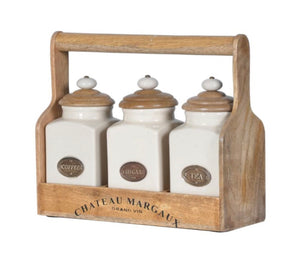 Tea, Coffee & Sugar Jars in Carrier