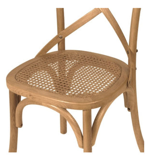 Cross Back Dining Chair with Rattan Seat