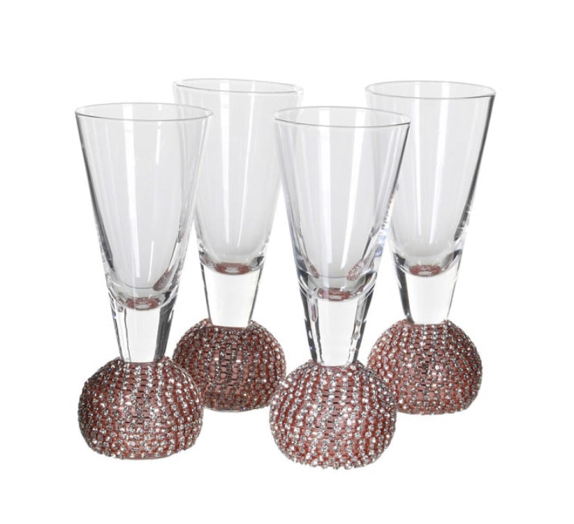 Rose Gold Diamanté Shot Glasses