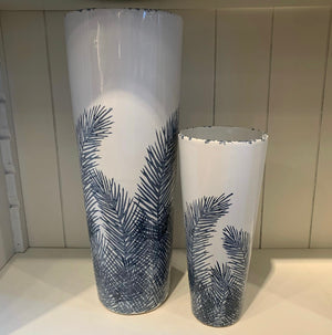 Blue & White Feather Patterned Vase
