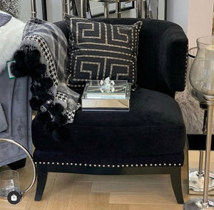 Black Armchair With Studded Effect