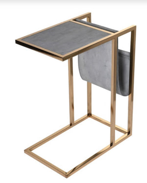 Faux Shagreen Side Table with Magazine Rack