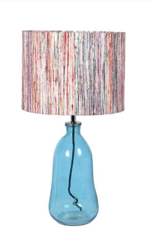 Blue Glass Table Lamp with Striped Shade