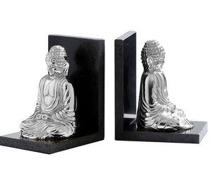 Set of 2 Silver Buddha Bookends on Marble Base