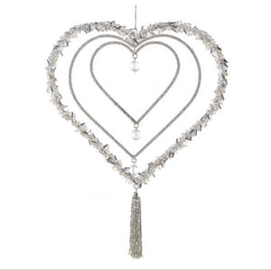 Silver Beaded Hanging Heart