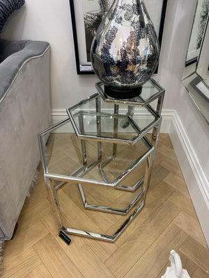 Set of 3 Hexagonal Silver Tables