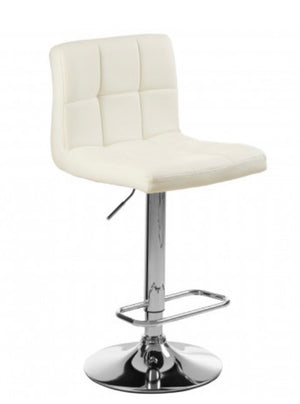 White Quilted Chrome Base Bar Stool