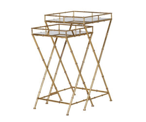 Set of 2 Gold Bamboo Side Tables