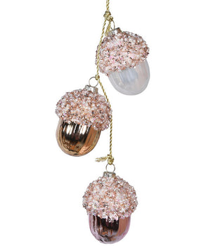 Gold, Pink & Pearl Hanging Acorns