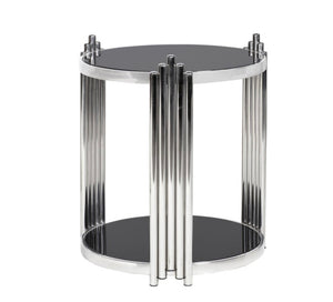 Silver Round Deco End Table
