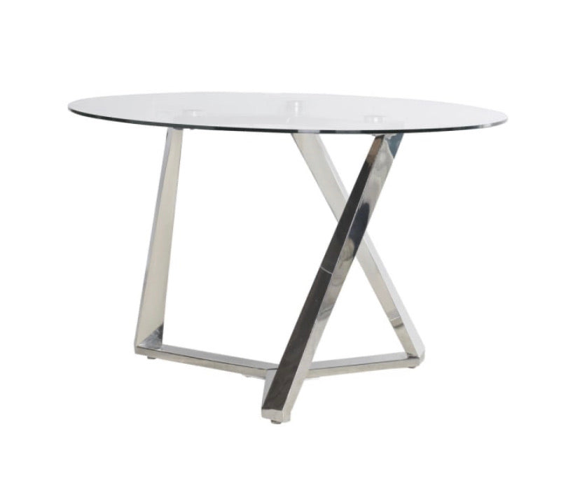 Round Glass Dining Table with Steel Legs