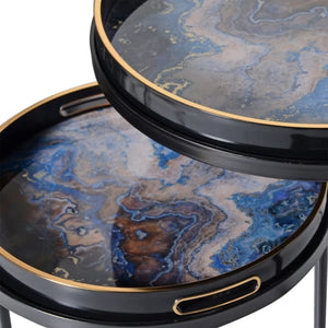 Set of 2 Blue Marble Effect Tray Tables
