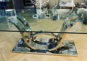 Wave Base Dining Table With Glass Top