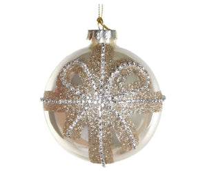 Gold Bauble With Diamante Bow
