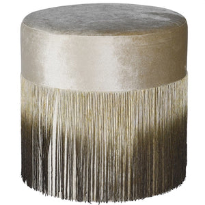 Beige and Brown Fringe Stool