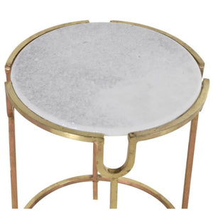 White Marble & Gold Metal Round Table
