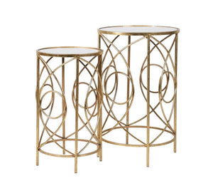 Set of 2 Gold Loop Side Tables