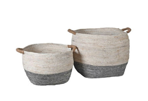 Set of 2 White & Grey Round Baskets