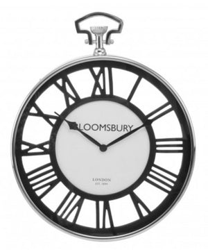Black & Nickel Pocket Watch Wall Clock