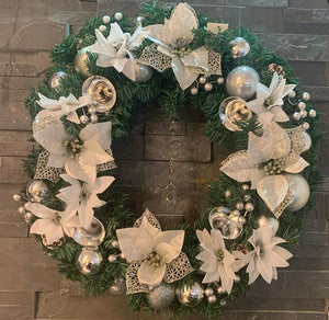 Silver Flowered Wreath