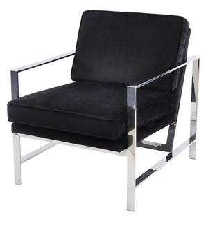 Black Velvet Occasional Chair with Chrome Frame