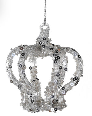 Glass Crown Ornament with Silver Sequin