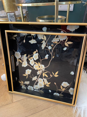 2 Black and Gold Floral Print Trays