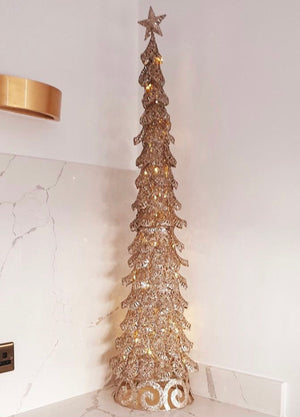 Champagne Cone Lit Tree