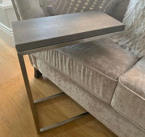 Reading Table With Faux Leather Shagreen Effect Top