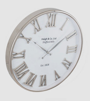 Silver & White Round Wall Clock
