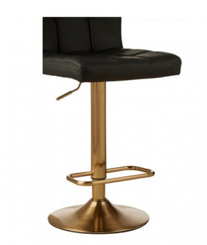 Black & Gold Quilted Bar Stool
