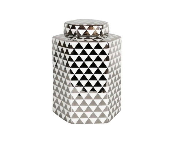 White & Silver Triangle Ginger Jar