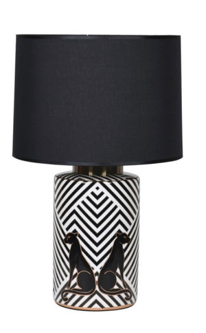 Leopard Lamp with Black Shade