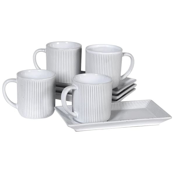 Set of 4 Ribbed Mugs & Saucers