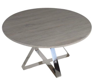 Stainless Steel Dining Table with Weathered Elm Top