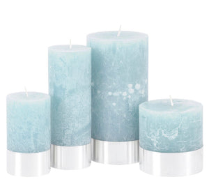 Blue Rustica Pillar Candle
