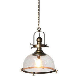 Glass Hanging Light With Brass Finish