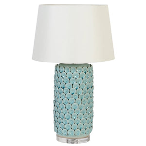 Celadon Ceramic Lamp with Acrylic Base and Shade
