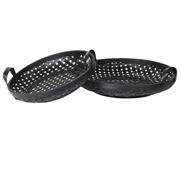 Set of 2 Black Round Rattan Trays