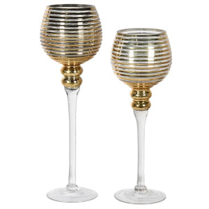 Set of 2 Gold Ribbed Candle Holder