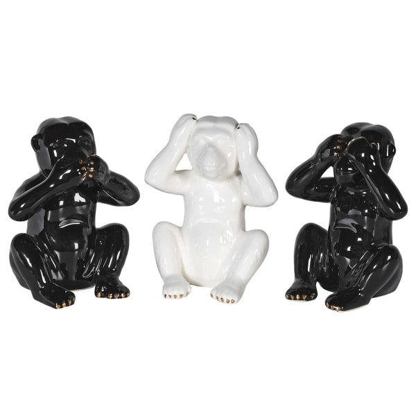 Set of 3 Black & White Monkeys
