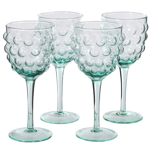 Set of 4 Green Bubble Wine Glass
