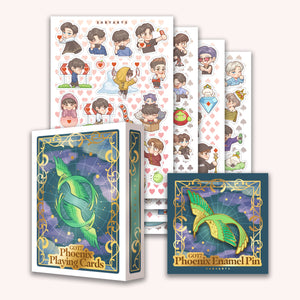 Phoenix Cards + Pin + Stickers SET